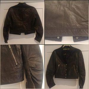 BCBGMAXAZRIA Leather Moto Jacket, Black